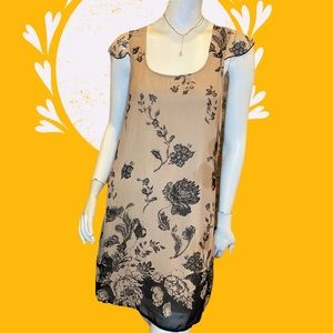 Everly Taupe Sleeveless Floral Print Dress